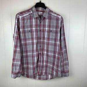 Kenneth Cole NY Red Plaid Long Sleeve Button Up XL